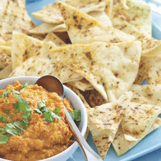 Roasted Red Pepper Hummus with Pita Chips.