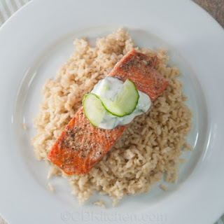 Slow Roasted Salmon with Brown Rice and Cucumber Yogurt