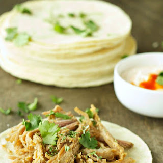Slow Cooker Pork Tacos with Adobo Sour Cream.