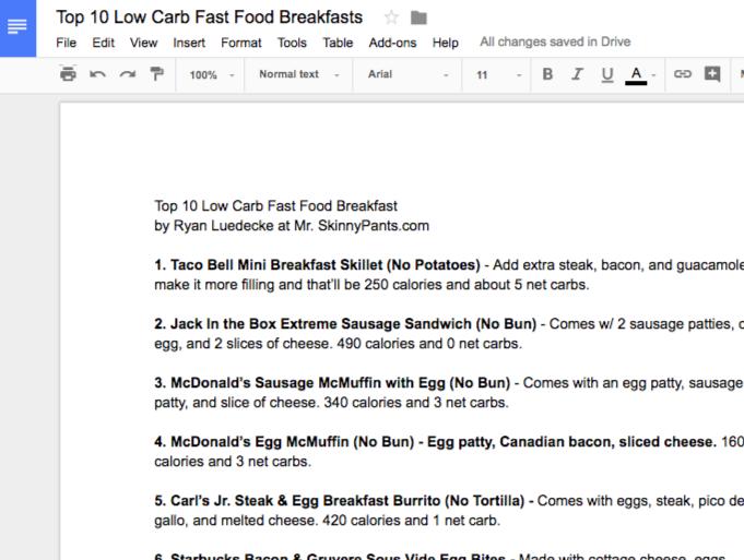 Low Carb Fast Food Breakfast Top 10 List