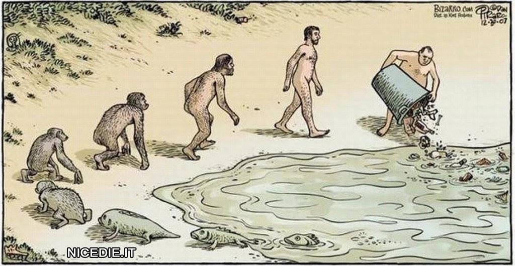 dal mare i primi esseri viventi che inziano a camminare poi diventano scimmie e infine uomo che scarica l'immondizia nel mare