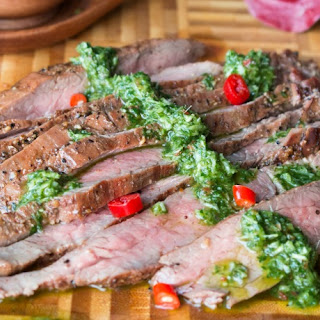 Grilled Flank Steak with Thai Style Chimichurri.