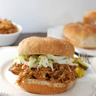 Slow Cooker BBQ Pulled Chicken Sandwich.