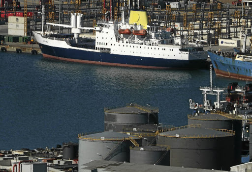 The Royal Mail Ship St Helena lies berthed in Cape Town harbour, South Africa April 17, 2018. Picture: REUTERS/ MIKE HUTCHINGS