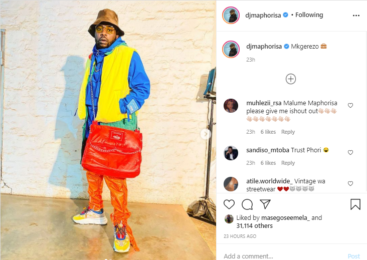 DJ Maphorisa's original post on Instagram.
