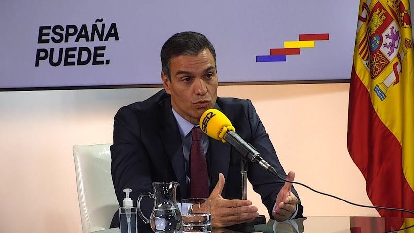El presidente del Gobierno, Pedro Sánchez, en la Cadena SER.