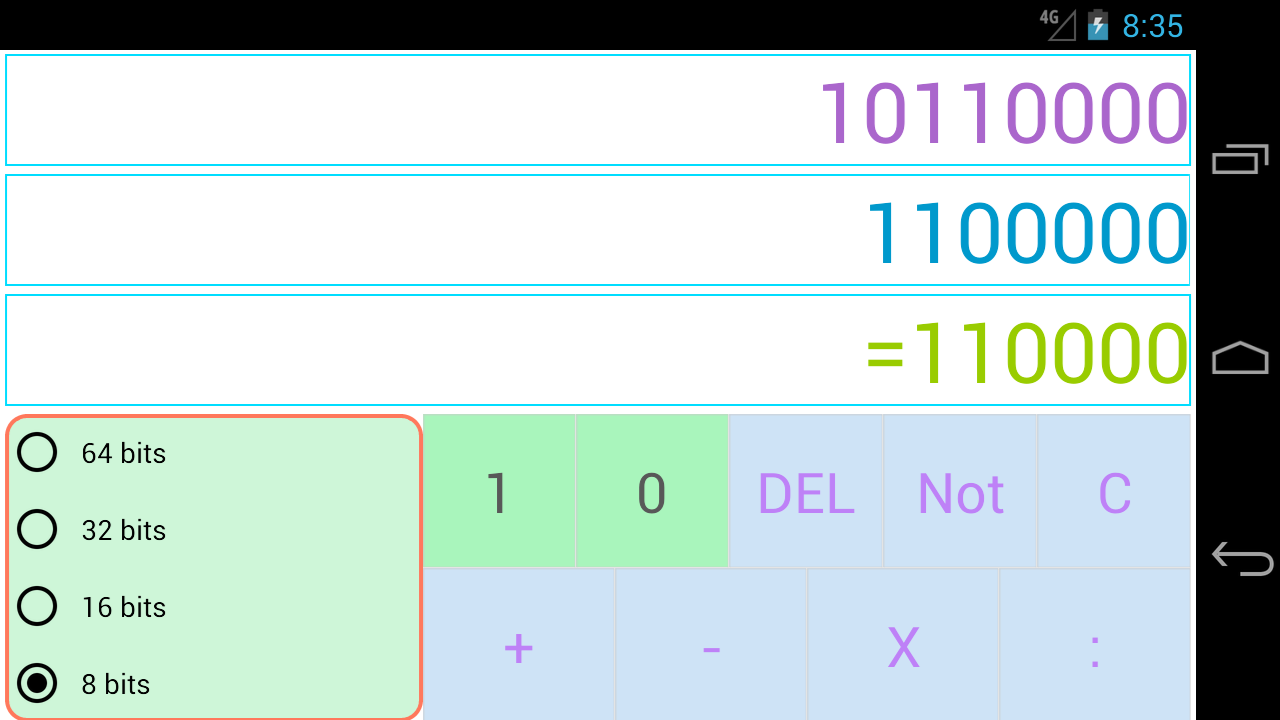 Binary arithmetic calculator online