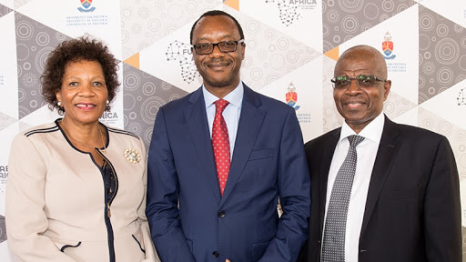 From left: chair of council Futhi Mtoba, vice-chancellor professor Tawana Kupe and chancellor professor Lumkile Wiseman Nkuhlu.