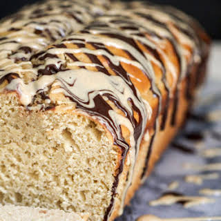 Healthy Peanut Butter Pound Cake with Peanut Butter Frosting.
