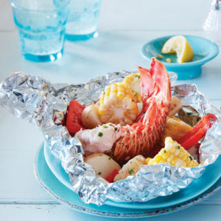 Lobster Tail Foil Packs with Lemon Chive Butter.