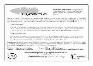 Photo: Invitation to Cyberia event. Design by Dennis Remmer.