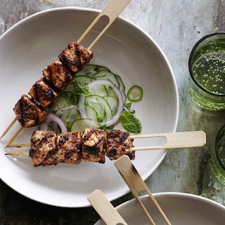 Chile-Rubbed Swordfish Kebabs with Cucumber Salad