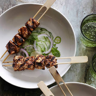 Chile-Rubbed Swordfish Kebabs with Cucumber Salad.