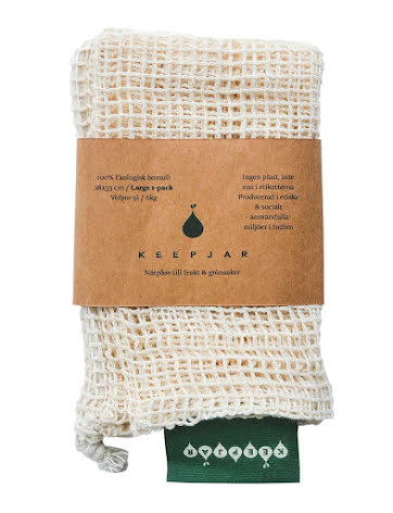 Bomullsnätpåse KEEPJAR med dragsko LARGE, 1 st