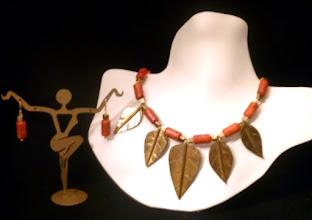Photo: <BEREHYNYA> {Great Goddess Protectress} unique one-of-a-kind statement jewellery by Luba Bilash ART & ADORNMENT  ROMAN GODDESS - РИМСЬКА БОГИНЯ - sponge coral, brass leaves/box & tube beads, 14K gold vermeil SOLD/ПРОДАНИЙ