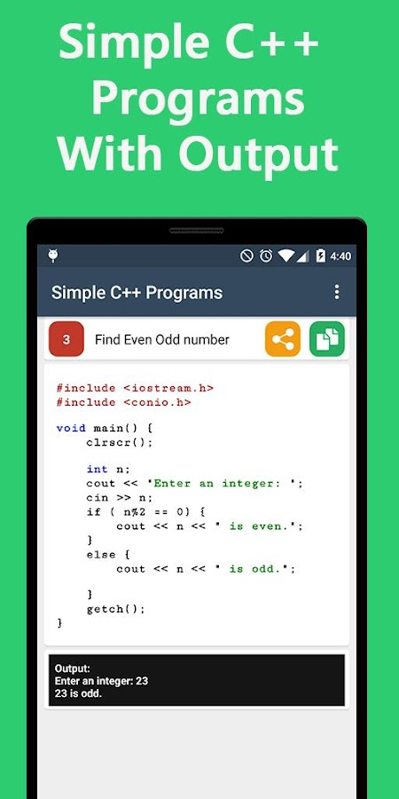 C++ Programming with Output- screenshot