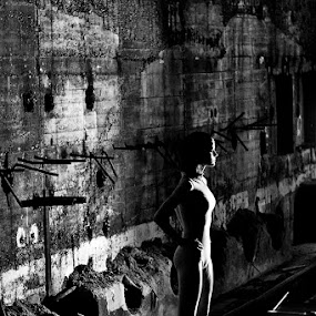 Factory with girl by Attila Kropf - Buildings & Architecture Other Exteriors ( body, modell, factory, blackwhite, abandoned,  )