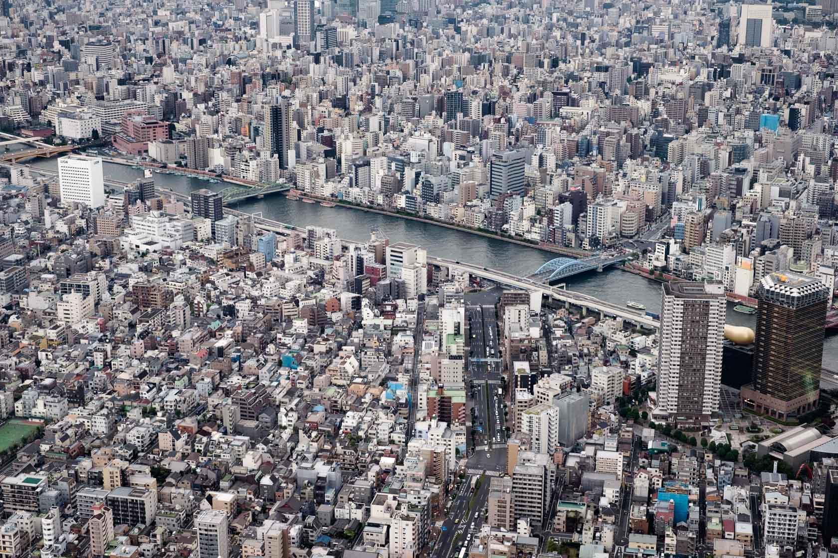 Overlooking theSumida River, Tokyo, Japan