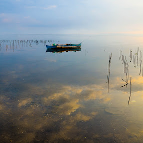 skies below by Jan Robin - Landscapes Waterscapes ( reflection, nature, seascape, morning, boat )