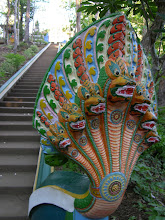 Photo: The stairs to a hilltop temple around Kratie, overlooking the Mekong river