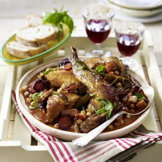 Red Wine Braised Rabbit with Chickpeas and Chorizo.