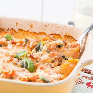 Sausage and Eggplant Stuffed Shells with Tomato Cream Sauce