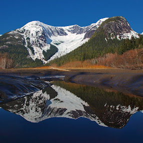Snowy Reflections by Pam Mullins - Landscapes Mountains & Hills ( water, wilderness, mountains, canada, nature, beautiful, reflections, bc,  )