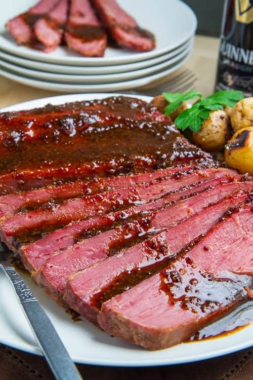 """Guinness Glazed Slow Cooker Corned Beef""""With St Patrick's Day coming up I..."""