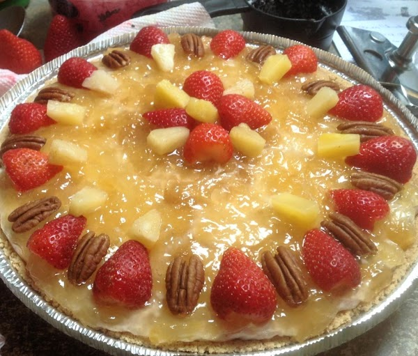 Then top with strawberry & pecan halves in desired arrangement. Then add in the...