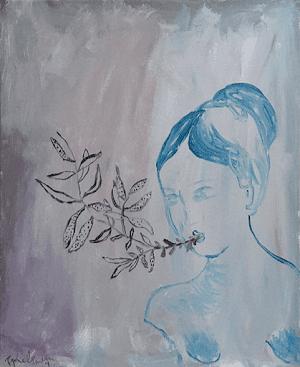éclosion peinture-acrylique-toile canevas fleur printemps renaissance-sophie-lormeau-art-singulier-figuratif-contemporain-portrait-imaginaire