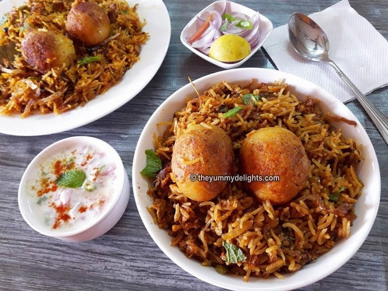Close up photo of egg biryani served in a bowl