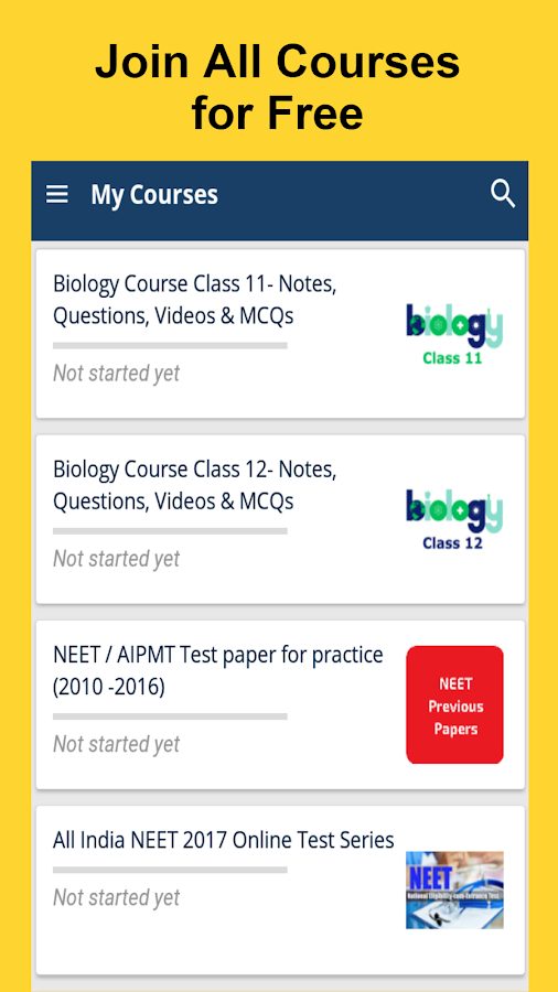 NEET-AIIMS Tests/Notes/Videos- screenshot