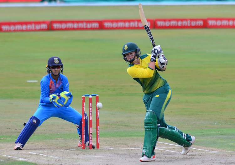 Dane van Niekerk bats during the 2018 Women T20 match between South Africa and India at Supersport Park, Pretoria on February 21 2018.