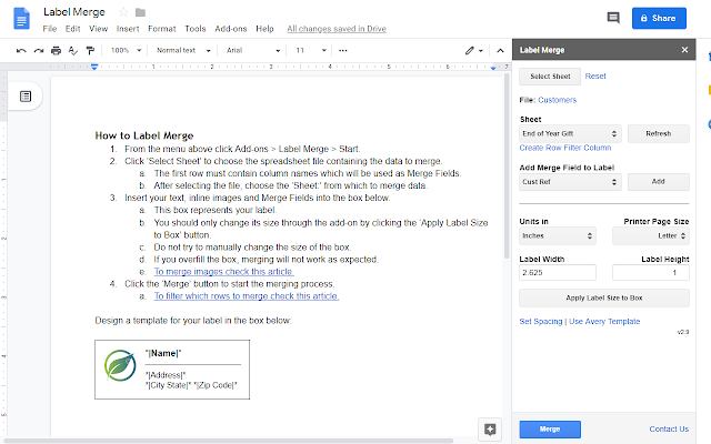 Mail Merge for Avery Labels - G Suite Marketplace