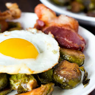 One Pan: Brussel Sprouts With Bacon and Eggs.