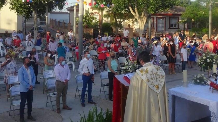 Celebración litúrgica durante las fiestas.