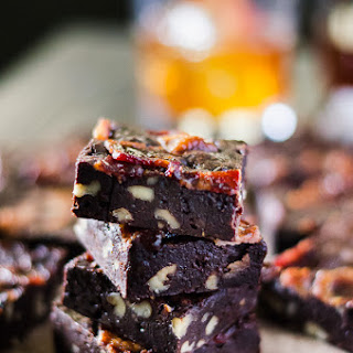Black Bourbon Walnut Brownies with Maple-Candied Bacon #SundaySupper