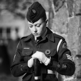 Honouring The Fallen - B&W by Garry Dosa - Black & White Portraits & People ( black & white, gun, poppy, remembrance day, uniforms, portrait, people, b&w, celebration, outdoors, cadet, ceremony, vintage, solemn, rifle )