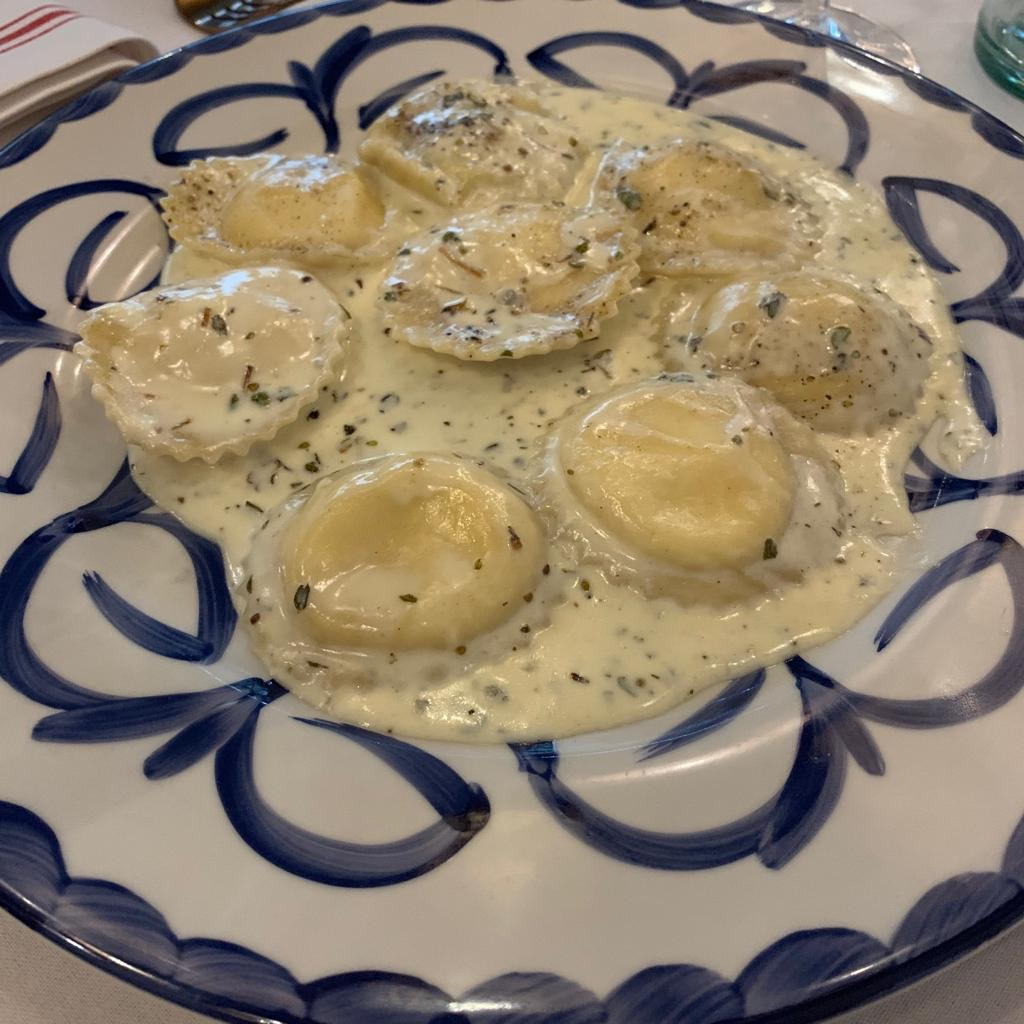 Baked tahini and goats cheese ravioli
