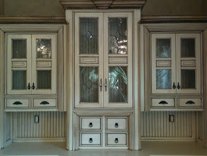 Photo: Book Case with traditional stained glass cabinet glass. Leaded glass, kitchen, curio, pantry, armoire, butler's pantry. Custom handmade beautiful glass.