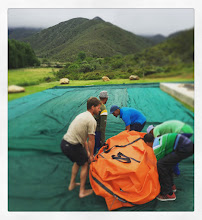 Photo: Heave-ho setting up the tent
