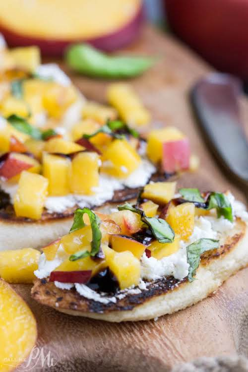 """Grilled Peach Bruschetta""""Sweet, savory, tangy, crisp, and creamy perfectly describes Grilled Peach..."""