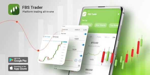 Gambar platform trading FBS tersedia di Google Play dan App Store