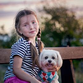Two Friends by Jiri Cetkovsky - Babies & Children Child Portraits ( girl, tanja, cild, ben, dog, portrait )