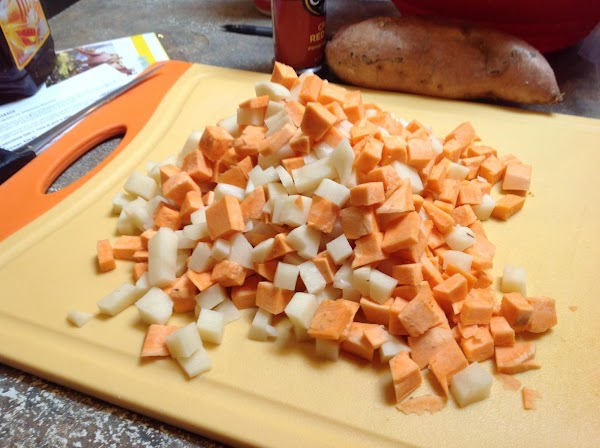 Wash and cube potatoes, when I combined the two I had 4 cups. Preheat...