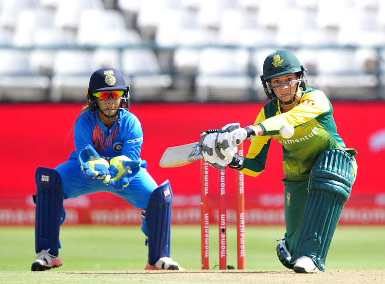 Marizanne Kapp of South Africa during the 2018 T20 Women's International between South Africa and India at Newlands Cricket Ground, Cape Town on February 24 2018.