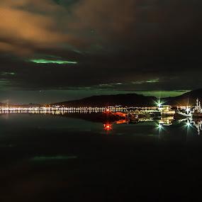 Maurnes harbour by Benny Høynes - Landscapes Starscapes ( canon, bennyhøynes, harbour, boats, aurora, boreoalis, landscapes )