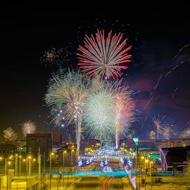 New Year's Eve by Catalin-Adrian Neacsu - City,  Street & Park  Skylines ( clouds, skyline, sky, new year, firework,  )