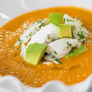 Shea Gallante makes tomato gazpacho with crab, avocado, basil