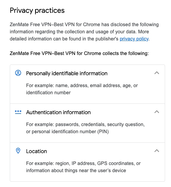 list of ZenMate privacy features